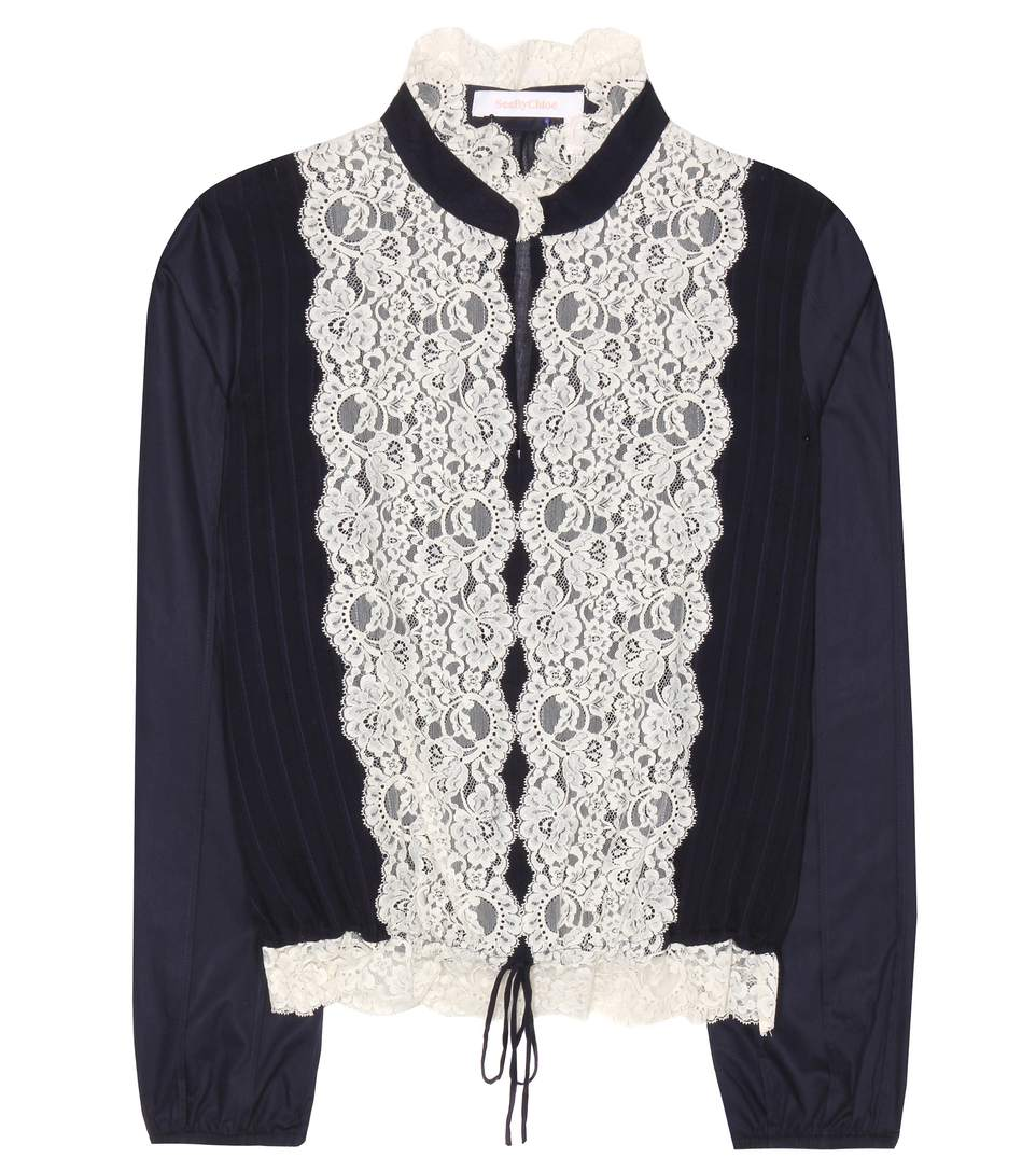 SEE BY CHLOÉ Long-Sleeve Pintucked Lace-Trim Blouse, Navy at mytheresa.com