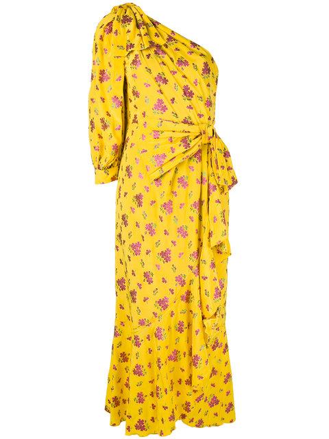 GUCCI Little Flower Georgette One-Shoulder Gown, Yellow, Yellow Pattern in Lemoe J