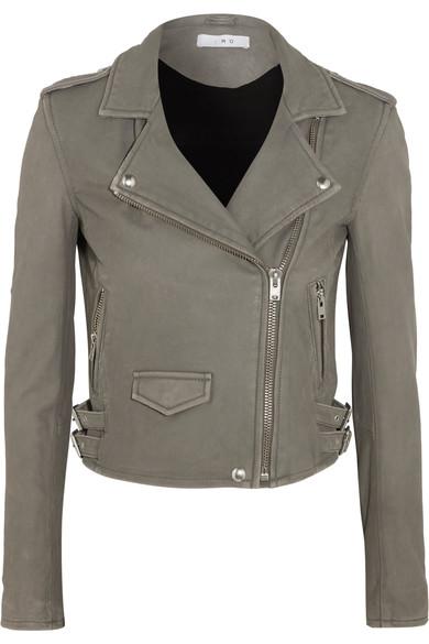 IRO Ashville Washed-Leather Biker Jacket at NET-A-PORTER
