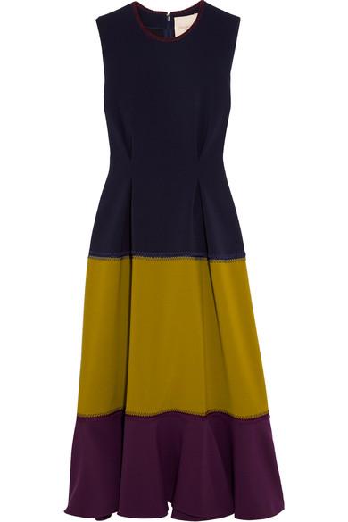 ROKSANDA Ambreen Paneled Stretch-Cady Midi Dress at NET-A-PORTER
