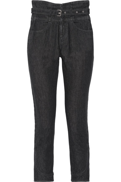 ISABEL MARANT Evera Belted High-Rise Straight-Leg Jeans at NET-A-PORTER