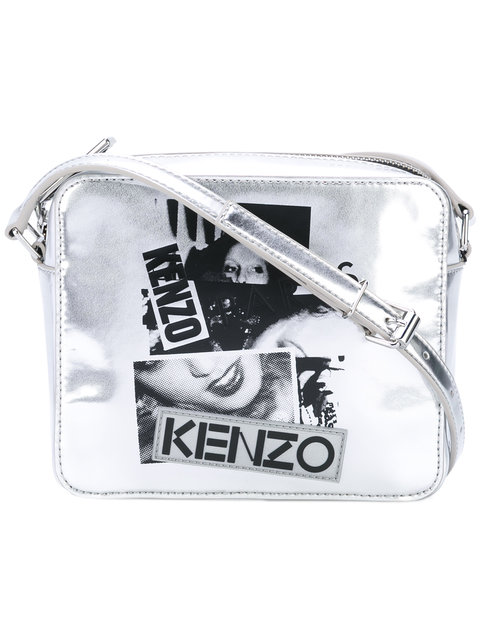 KENZO Metallic Leather Shoulder Bag With Print at Farfetch