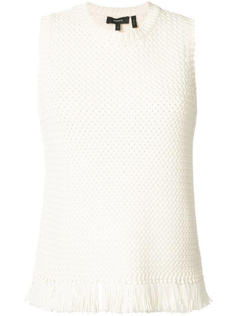 THEORY Meenara Crosshatched Knit Tank Sweater, White at Farfetch