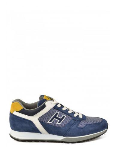 HOGAN Sneaker Hogan H321 In Pelle Blu, Bianca E Ocra at Italist.com