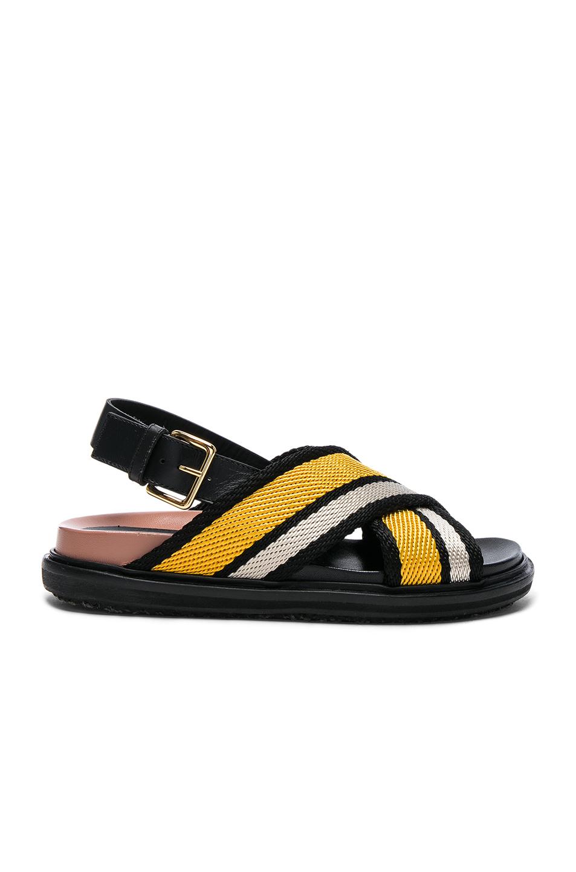 MARNI Fussbett Fabric Crossover Sandals in Sun|Giallo