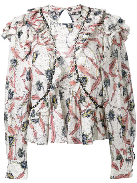 ISABEL MARANT Floral Printed Gauze Ruffled Top, Ecru at Farfetch