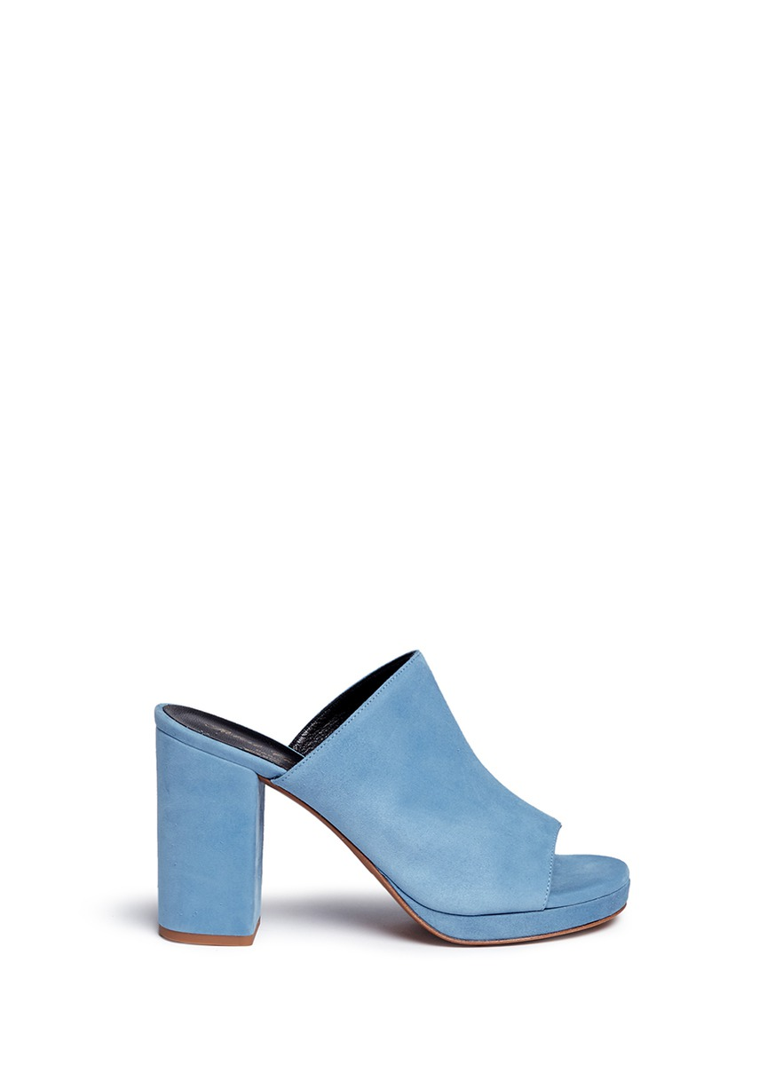 ROBERT CLERGERIE Blue Suede Abrice Mules at Lane Crawford