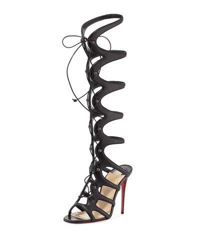 CHRISTIAN LOUBOUTIN Amazoula 100Mm Leather Tall Gladiator Red Sole Sandal, Black at Neiman Marcus
