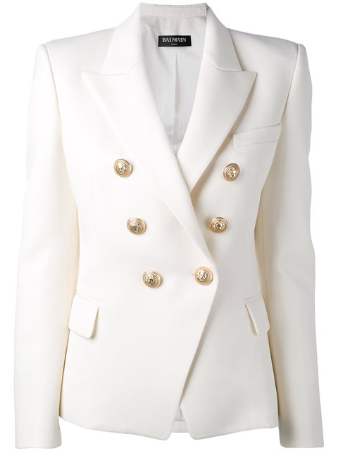 BALMAIN Honeycomb Double-Breasted Blazer in White