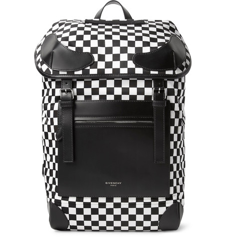 GIVENCHY Rider Leather And Checkerboard Shell Backpack at MR PORTER