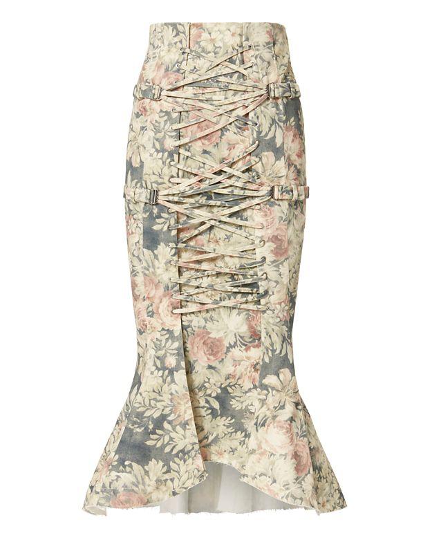 ZIMMERMANN Cavalier Strapped Floral Skirt at INTERMIX