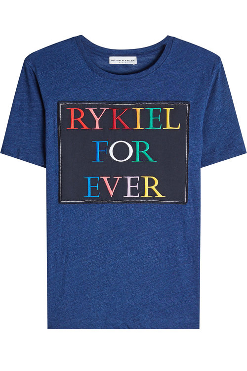 SONIA RYKIEL Embroidered Cotton T-Shirt in Blue