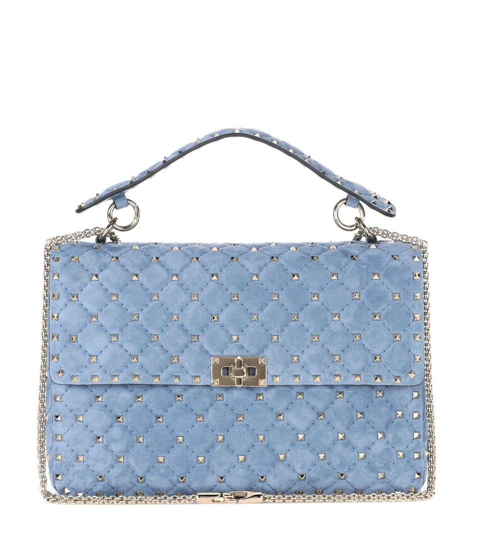 VALENTINO Garavani Rockstud Spike Suede Shoulder Bag in Loedoe Sky