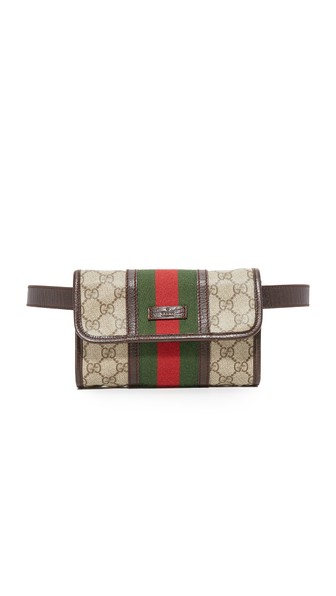 WHAT GOES AROUND COMES AROUND Gucci Canvas Waist Pouch (Previously Owned) in Brown
