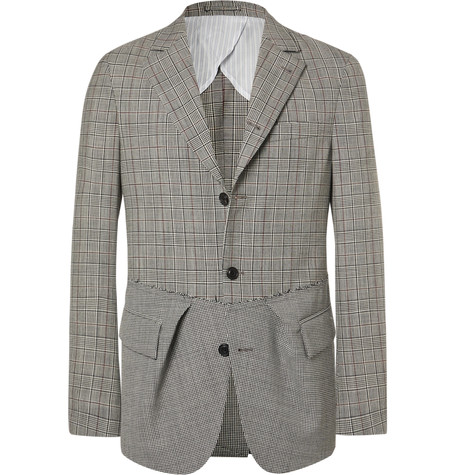 WOOSTER + LARDINI Black Slim-Fit Prince Of Wales Checked And Puppytooth Wool Blazer