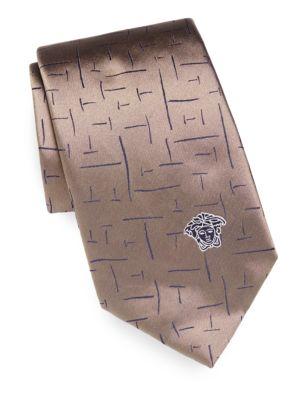 VERSACE Printed Silk Tie in Na