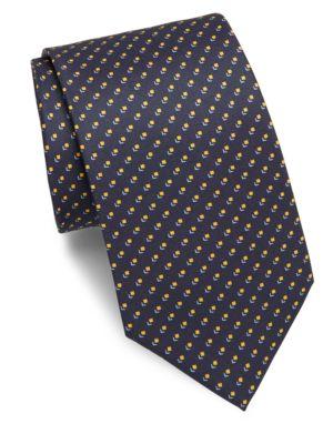 BRIONI Printed Silk Tie in Na