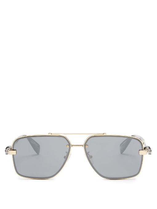 ALEXANDER MCQUEEN Skull-Hinge Aviator Sunglasses at MATCHESFASHION.COM