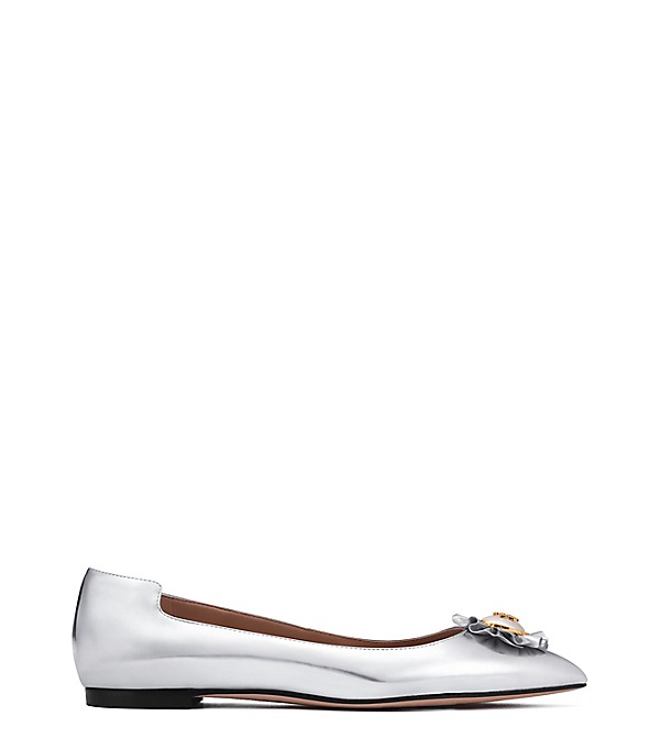 TORY BURCH 'Melody' Logo Pearl Metallic Leather Skimmer Flats in Silver