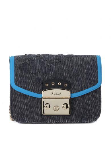 FURLA Furla Metropolis Mini Bag In Blue Denim Fabric