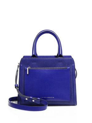 VICTORIA BECKHAM Small City Victoria Leather Tote in Moroccan Blue
