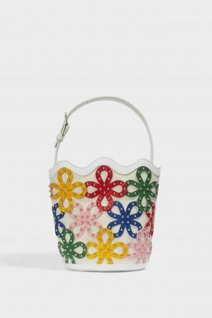 SARA BATTAGLIA Floral Leather Bucket Bag in White Multi/Silver