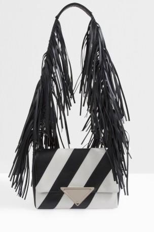 SARA BATTAGLIA Striped Fringe Shoulder Bag