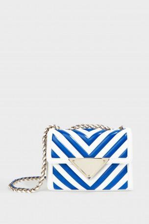 SARA BATTAGLIA Elizabeth Color Block Small Leather Shoulder Bag in White/Blue/Gold