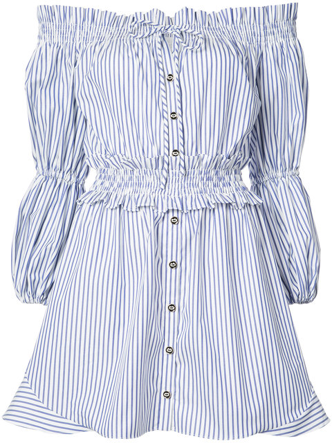 CAROLINE CONSTAS Bardot Peasant Dress in Royal Blue Stripe
