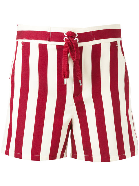 RED VALENTINO Striped Cotton-Blend Shorts in Amarena