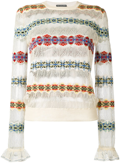 ALEXANDER MCQUEEN Lace Sweater With Fair Isle Insets, Multicolor at Farfetch