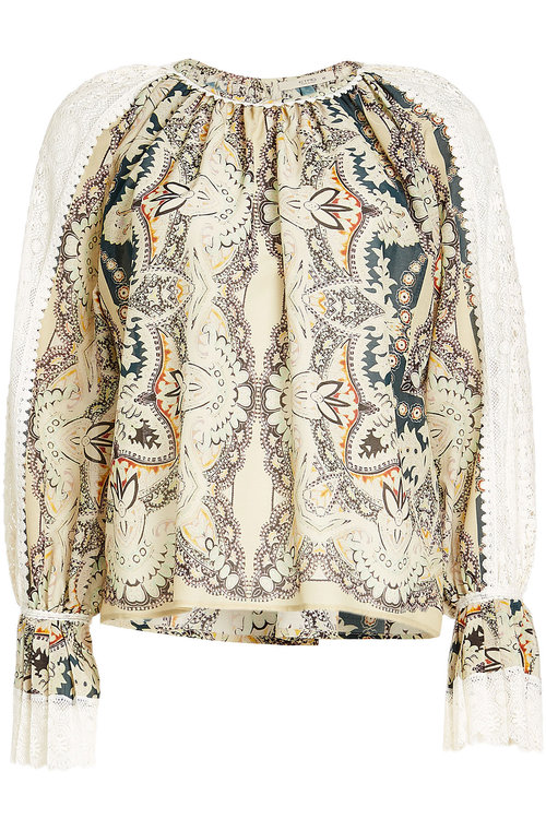 ETRO Printed Cotton And Silk Blouse With Lace at STYLEBOP.com