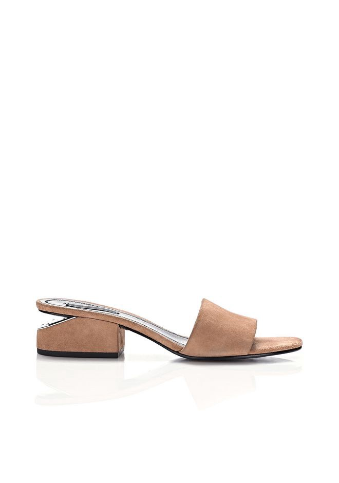 ALEXANDER WANG Lou Suede Sandal With Rhodium - Camel at SPRING