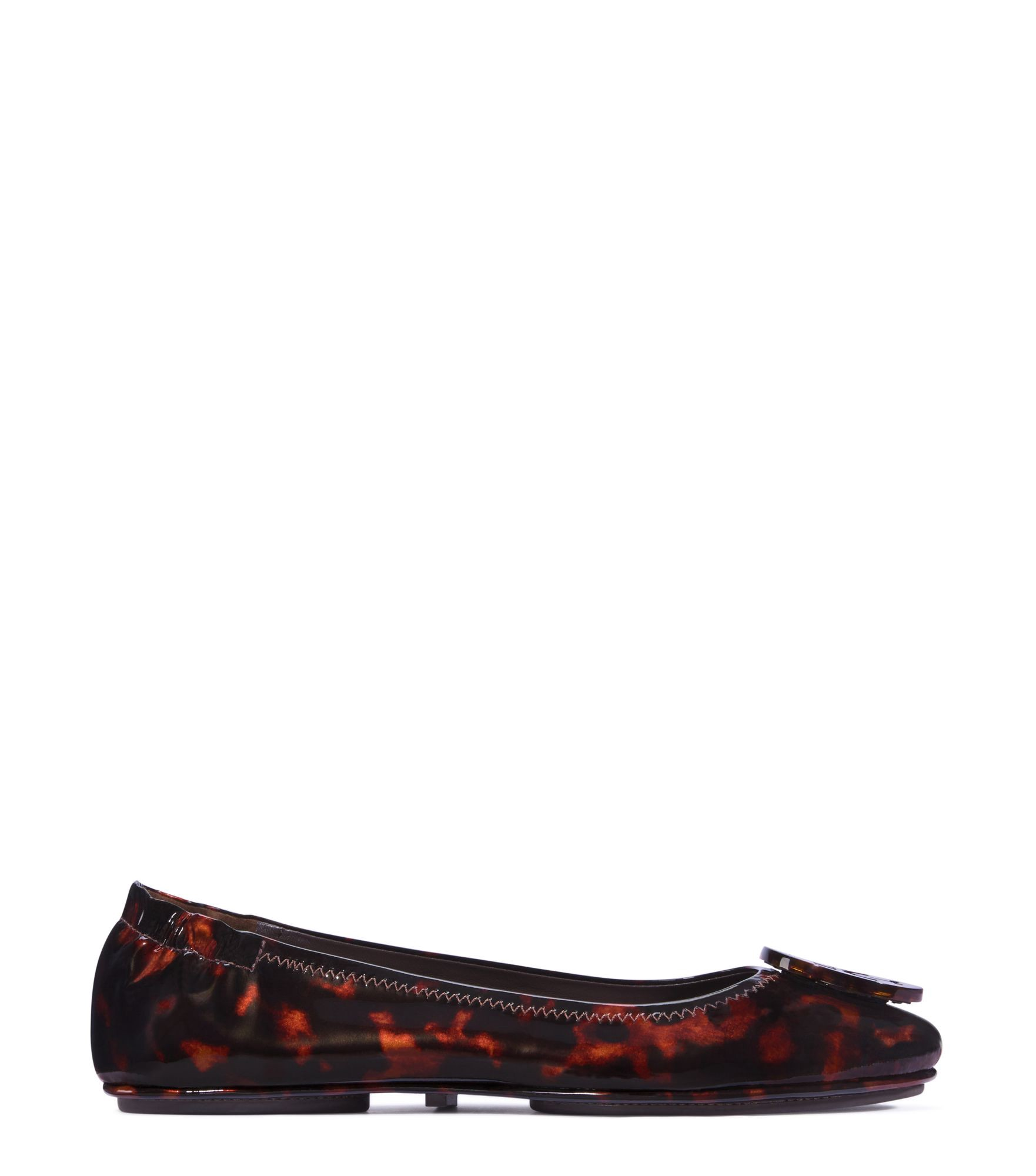 TORY BURCH Minnie Travel Tortoiseshell Patent Leather Ballet Flats