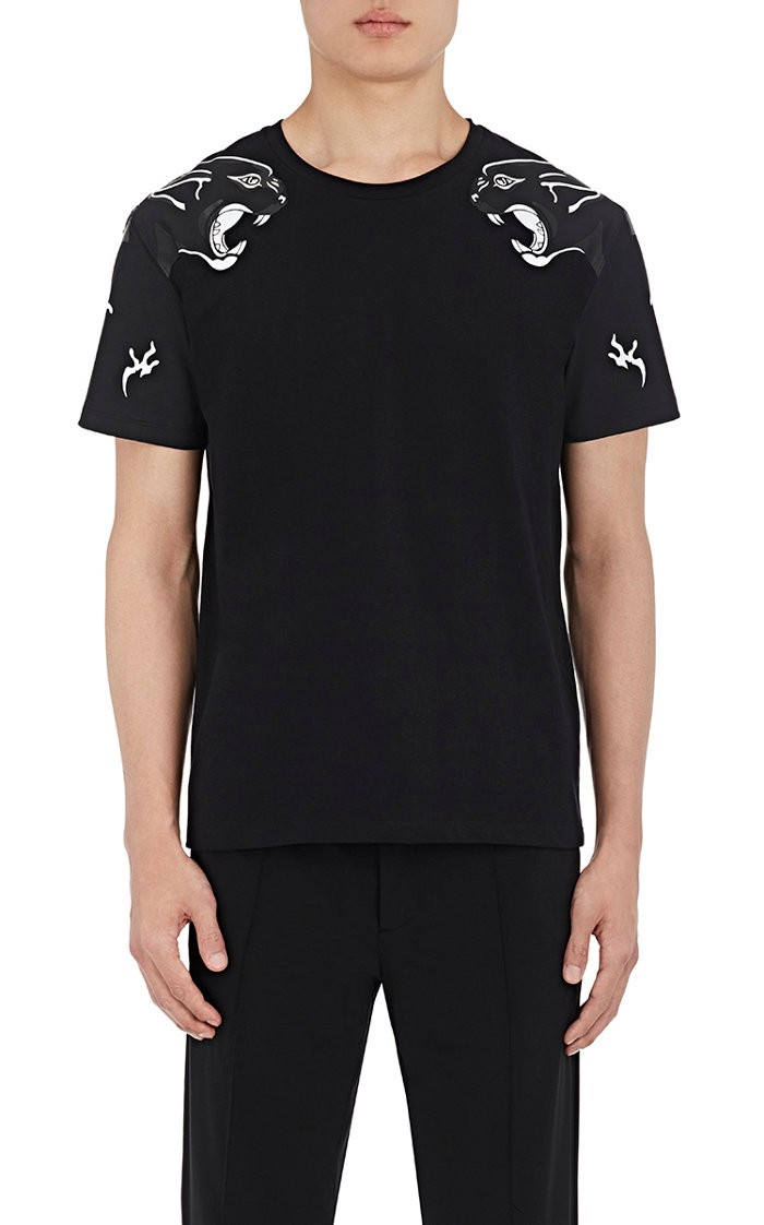VALENTINO Panther Printed Cotton Jersey T-Shirt, Black at SPRING