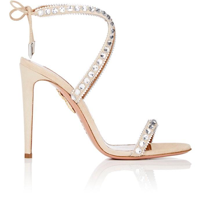AQUAZZURA Sweet Lover Crystal Suede High Heel Sandals at SPRING