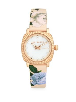 TED BAKER Floral Mother-Of-Pearl Analog Fashion Watch in Rose Gold