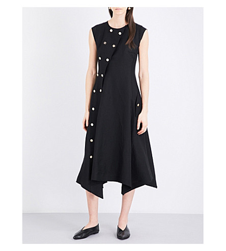 LOEWE Button-Trimmed A-Line Dress, Black