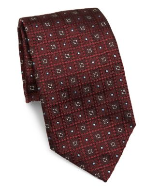 ERMENEGILDO ZEGNA Geometric Woven Silk Tie at Saks Fifth Avenue