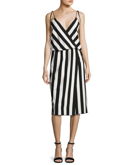 MARC JACOBS Striped Crepe Slip Dress, Black/White at BERGDORF GOODMAN