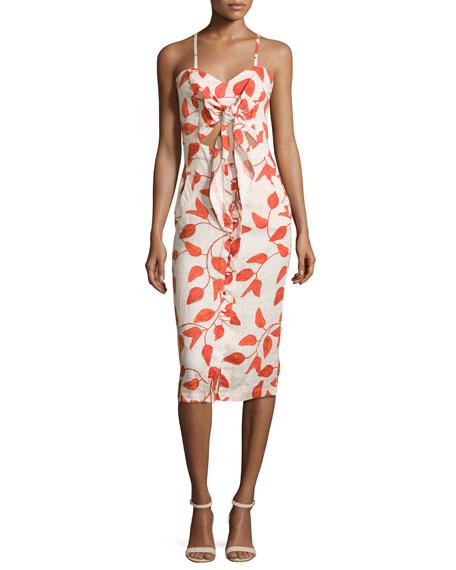 JOHANNA ORTIZ Leaf-Print Linen Tie-Front Cami Dress, Red/White at BERGDORF GOODMAN