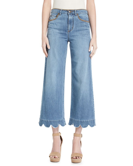 RED VALENTINO Stone-Washed Cropped Wide-Leg Jeans, Light Blue at BERGDORF GOODMAN
