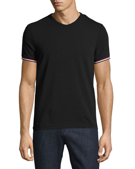 MONCLER V-Neck T-Shirt With Tricolor-Striped Sleeves, Light Gray in Black