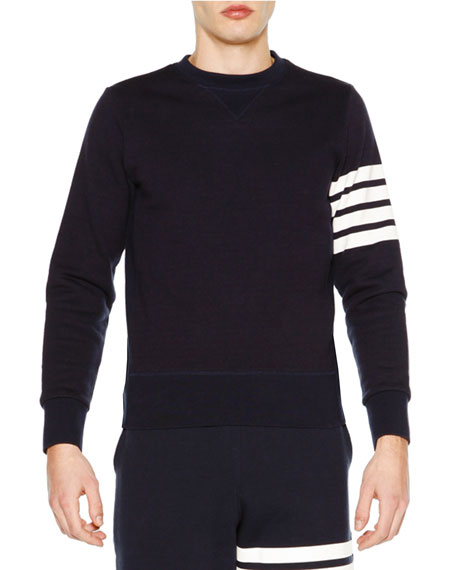 THOM BROWNE Crewneck Four-Stripe Sweatshirt, Navy at BERGDORF GOODMAN