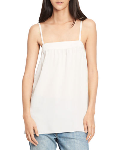 VINCE Embroidered Silk Camisole Top, Gesso at Neiman Marcus