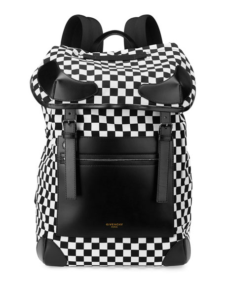 GIVENCHY Rider Leather And Checkerboard Shell Backpack at BERGDORF GOODMAN