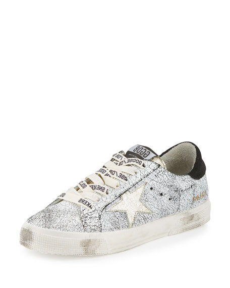 GOLDEN GOOSE May Star Low-Top Sneaker, White Crackled/Gold at BERGDORF GOODMAN