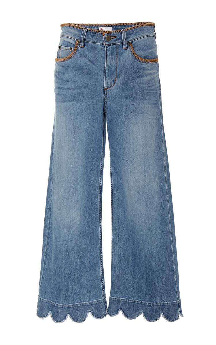 RED VALENTINO Stone-Washed Cropped Wide-Leg Jeans, Light Blue at Moda Operandi