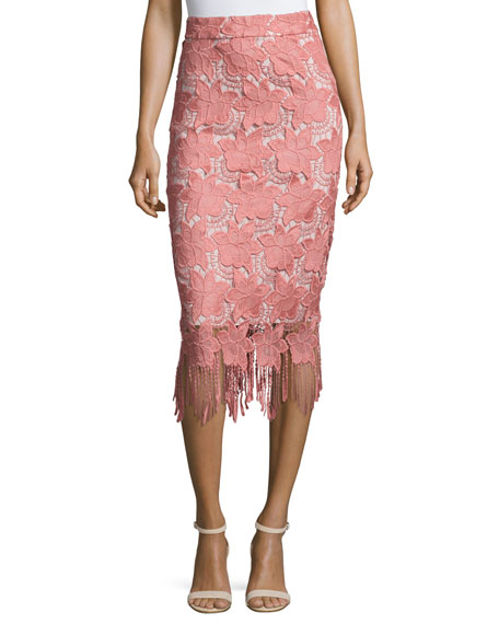 ALICE AND OLIVIA Floral Guipure Lace Pencil Skirt, Pink/White, Multi at BERGDORF GOODMAN