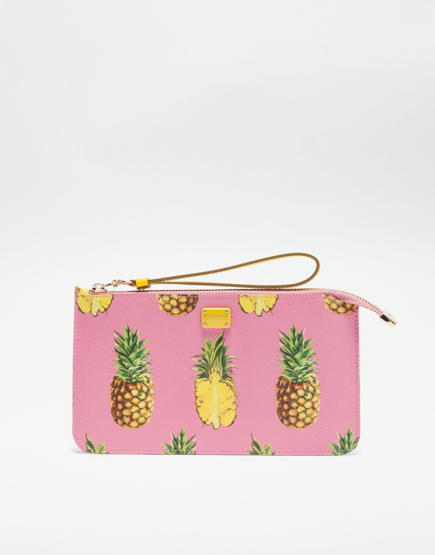 DOLCE & GABBANA Dauphine Leather Printed Bag in パイナップルプリント